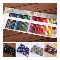 animal print pens - Multicolor Canvas Printing Pen curtain Fashion Roll Pencil Case Big capacity pencils bag pen pouch Elk National flavor Owl Ocean