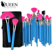 Wholesale Makeup brush set blue Wood handle Makeup Brushes Tools Set with PU Leather Case Cosmetic Facial Make up Brush Kit