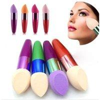 Wholesale Professional Women Bullet Shape Cosmetic Brush Liquid Cream Foundation Power Concealer Sponge Makeup Brushes