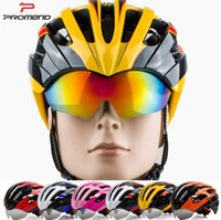 Wholesale Christmas discount colors design promend sunglass attached intergrated technology sports outside bicycle helmet for men and women