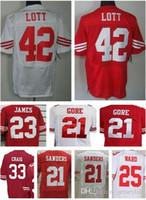 Wholesale 49ers Jimmie Ward Frank Gore Ronnie Lott LaMichael James Roger Craig Deion Sanders San Francisco jersey size small S XL