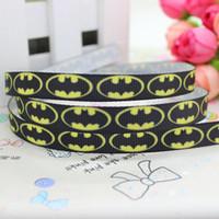 batman ribbon - 3 quot mm Popular Black Batman Symbol Printed Grosgrain Ribbon Bows Crafts Decorations DIY Party Hair Accessories Y A2