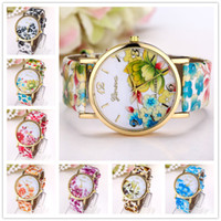 alloy round print - 2016 New Geneva Personality Quartz Watches Casual Classic Rose Print Ladies Watches Colors Fashion Designer Women Watch