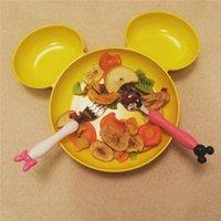Wholesale 2016 Baby Feeding Mickey Minnie Cartoon Design Tableware Set Dinner Set Children Baby Stainless Steel Portable Tableware Fork Spoon
