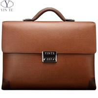 attache case women - YINTE Leather Men s Briefcase Classic Business Brown Bag Lawyer Office Messenger Shoulder Attache Case Portfolio Totes T8369