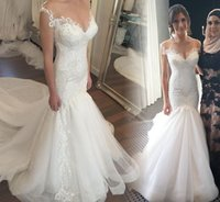 Wholesale 2016 Glamorous Lace Mermaid Wedding Dresses Long Illusion Capped Sleeves V Neck Pearls Beaded Organza Chapel Trains Bridal Gowns for Beach