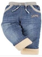 Wholesale High Quality Winter Thick Kids Denim Pants Style Warm Cashmere Baby Boys Jeans Children Elastic Waist Trousers Retail