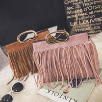 Wholesale Cross Body Totes For Women - 2016 new designer handbags with tassels for women, girls, grey, pink, red, black, yellow, handcarry, cross body, shoulder bag price cheap