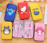 Wholesale 2016 Creative Cute Cartoon in set Nail Tools Manicure Kit Stainless Steel Toe Nail portable nail clippers Set