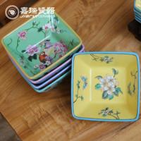 Wholesale European Style porcelain Square Salad Bowl ceramic Hand Drawing Fruit Bowl Household Item Chinese Arts crafts Furnishing