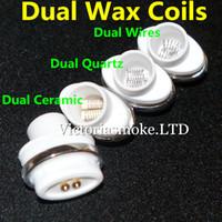 Cheap dual ceramic quartz wax coils for micro dry herb g Vaporizer herbal vaporizers pen Wax dry herb atomizer e cigarette herber vapor cigarettes
