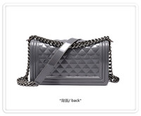 handbag silicone - Silicone Handbag Pouch Quilted Flap Le Boy Jelly Clutch Shoulder Chain Bag Club