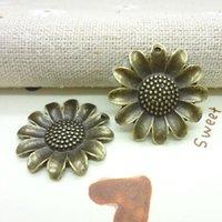 metal sunflower - Vintage Charms Sunflower Pendant Antique bronze Fit Bracelets Necklace DIY Metal Jewelry Making