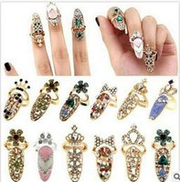 Wholesale Set of accessories ring Delicate diamond encrusted fingernail set tail ring joint ring crown armor accessories