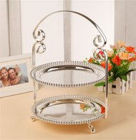 Wholesale 1 Zinc alloy bead point multilayer afternoon tea cake plate Silver fruit bowl High end home decoration tableware