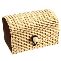 Wholesale Vintage Mini Retro Style Lovely Handmade Bamboo Wooden Jewelry Ornament Organizer Storage Box Strap Craft Case Candy Colors