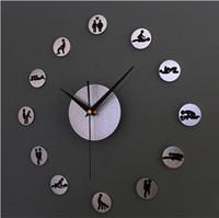 achat en gros de heures de sexe-2015 NOUVEAU! Creative horloge bricolage mur de plaisir, 24 heures de sexe, 3D sexe bricolage sticker mural de position horloge, salon décoration montres murales