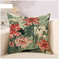 art geometry - Summer Lotus Pond Lotuses Leaf Painting Art Geometry Pillow Case Cover Massager Decorative Pillows Warm Home Decor Elegant Gift