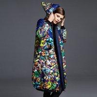 Wholesale showseason designer women s clothing brand winter printing style fashion coat White duck down women s long down jacket