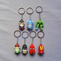 Wholesale 7pcs set The Avengers Alliance Hulk Iron Man Batman spider man Green lantern Captain America Super Man Keyrings Hot Sale cm