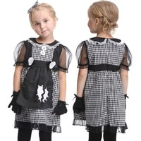 Wholesale Girls Little Maid Cosplay Fancy Dress Halloween Carnival Party Princess Dress Gloves Tire Sweet Outfits Kids Boutique Autumn Set