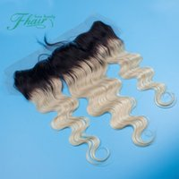"""Cheap 13x4"""" Dark Roots #1B 613 Body Wave Wavy Brazilian Hair Two Tone Ombre Blonde Lace Frontal Closure Bleached Knots With Baby Hair"""