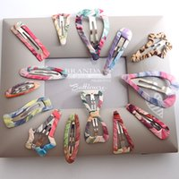 asian design fabric - Printed chiffon hairpin korean multi colors geometric fabric hair clips for children women summer hair jewelry bulk mixed designs