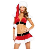 Санта костюмы Цены-Сексуальное женское бельё Рождественские шапки + Бикини Сексуальные костюмы Женщины Санта-Клаус Косплей Платье Экзотические комплекты Нижнее белье Костюмы