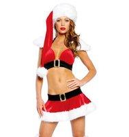 al por mayor set vestidos de santa-Sexy Lingerie Navidad Hats + Bikini Trajes Sexy Mujer Santa Claus Cosplay Dress Exóticos Conjuntos Ropa interior trajes de noche