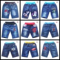 Wholesale 9 styles children shorts turtles train spiderman cars big hero cartoon summer boy s jeans denim short pant for baby boy kids trousers