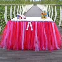 Wholesale Organza Wedding Table Skirt Tutu Tulle Bow Decorating Desk Cloth Cover For Birthday Chrismas Festival Party Tableware x91cm
