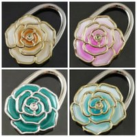 Wholesale 100 DHL FEDEX Folding Handbag Purse Bag Hanger Table Hook Hang Holder Rose Flower Shape