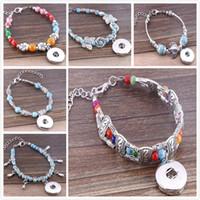 antique glass buttons - DIY Antique Bracelet Mixed Color Beads Flower OWL Carved Slave Bracelet Glass Charms Bangle Fits MM Snap Buttons E826L