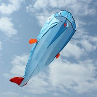 Wholesale High Quality D Huge Soft Parafoil Giant Dolphin Blue Kite Outdoor Sport Dolphins Kites Easy to Fly Frameless flying toys