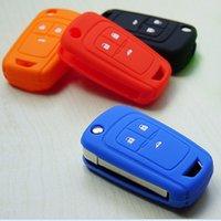 aveo accessories - Silicon Rubber key fob cover case holder protect For Chevrolet Cruze Spark Onix Volt Aveo Sonic flip folding remote accessories
