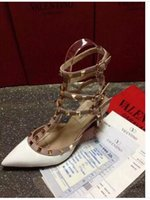 Wholesale NIB_Valentinos_Womens Cowhide Sandals Heels Stud ShoesA women s shoe