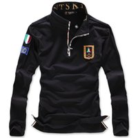 air force t shirt designs - Free shopping new spring brand Italy air force one armband design t shirts fashion zipper closure military t shirt men PL5