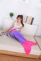 Wholesale 2 Dimensions Double Flannel Blanket Mermaid Blankets Sleeping Bags Mermaid Tail Blankets Cartoon Blankets Mermaid Tail Sleeping Bags