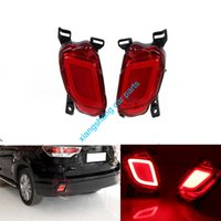 abs brake light - 2pcs Car Styling LED Rear Bumper Brake Light Turn Signal DRL Taillight ABS For Toyota Highlander Kluger XU50