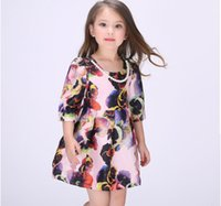 american printing ink - The new girl colorful ink print fashion dress Child Dress Children Princess Dress Girl Printed Dress