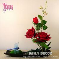 artificial bonsai supplies - New handmade red rose bonsai artificial rose flower arrangements set flores artificiais arranjos ikebana in ceramic pots suit