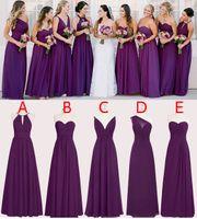 Wholesale Perfect Chiffon Purple Bridesmaid Dresses Floor Length A Line Long Wedding Bridesmaid Dresses Custom Made Sleeveless WB011