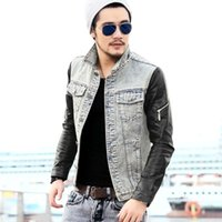 acid jean - Fashion Men s Denim Jacket With Leather Sleeves Slim Fit Vintage Patchwork Acid Washed Jean Jacket For Men