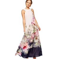 ankle fit - European Women Size Summer Women Casual Fit and Flare Floral Sleeveless Chiffon Long Dress Vestidos Lucky