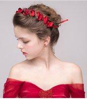 al por mayor china joyería de envío libre del vestido-Decoración de la boda de las hojas de las hojas rojas para el vestido de boda del estilo chino de los Sccessories del pelo de la novia con la joyería para las mujeres Envío libre