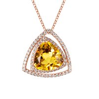 Cheap Spherical Triangle Natural Citrine Pendant with Chain 925 Sterling Silver Necklace Wholesale Brand New Hand-made Fine Jewelry for Women gift