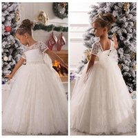 baby girl bodice - 2016 White Flower Girl Dresses Ribbon Lace Short Sleeves Bodice Baby Birthday Party Christmas Princess Gowns Children Formal Wear