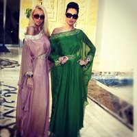 arabian abayas - 2015 New Hot Green Arabic Style Kaftan Evening Dresses With Long Sleeves Crystal Abaya Dubai Chiffon Arabian Maxi Dress