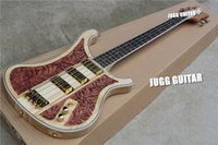Wholesale Rickenbastard LK Lemmy Kilmister Limited Edition Natural Walnut Hand carved RARE Electric Bass Guitar Korea Gold Hardware Pickups
