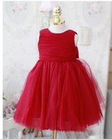 Wholesale 2016 NF012 New Arrival In Stock Cheap Discount Red Tulle Bow Sleeveless Elegant Ball Gown Children Lovely Wedding Evening Flower Girl Gowns